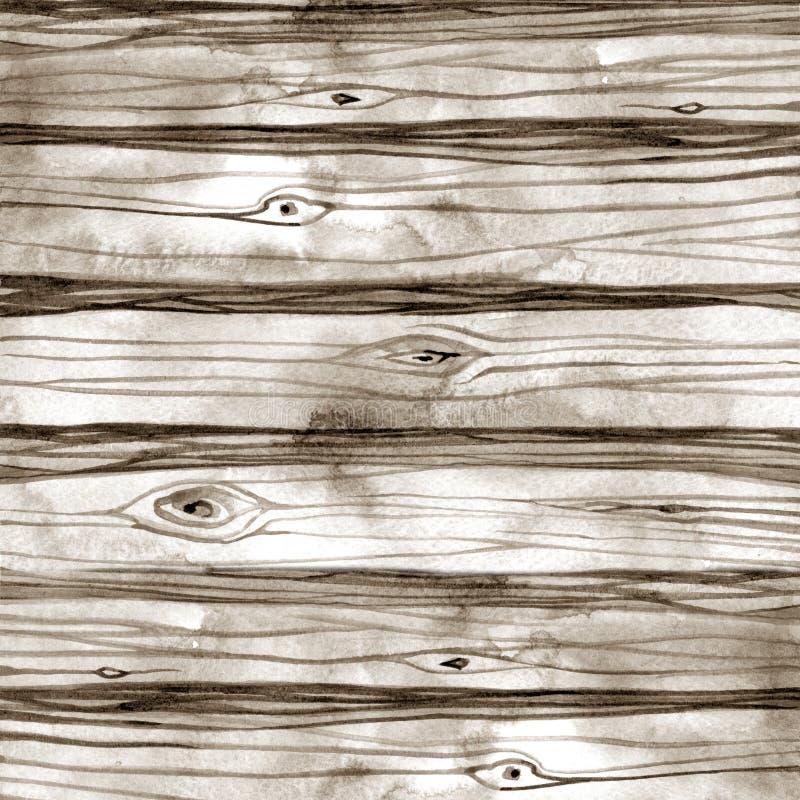 Fundo de madeira da textura da aquarela Ilustração desenhada mão ilustração do vetor