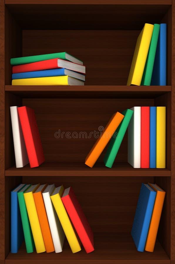 fundo de madeira das prateleiras 3d com livros ilustração royalty free