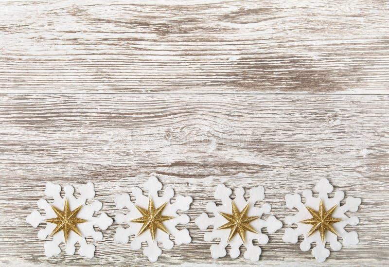 Fundo de madeira do Grunge do Natal, floco de neve Toy Decoration, Wh foto de stock royalty free