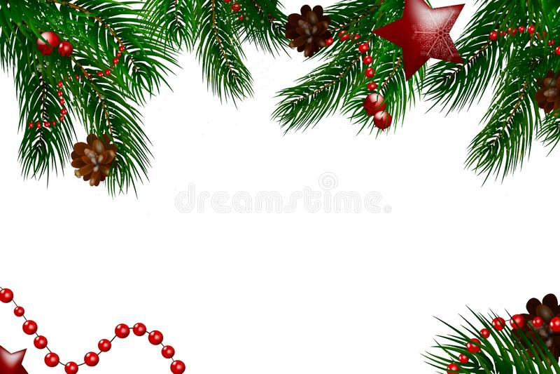 Fundo de madeira do Natal com ramos e neve do abeto Feliz Natal Ilustração do vetor Cartão de Natal Fundo do vetor ilustração stock
