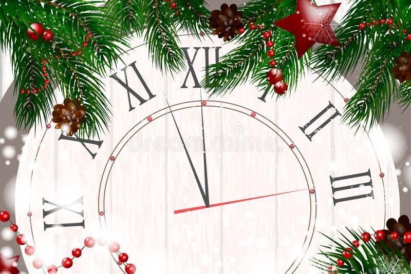 Fundo de madeira do Natal com ramos e neve do abeto Feliz Natal Ilustração do vetor Cartão de Natal Fundo do vetor ilustração royalty free