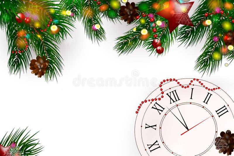 Fundo de madeira do Natal com ramos e neve do abeto Feliz Natal Ilustração do vetor Cartão de Natal Fundo do vetor ilustração do vetor