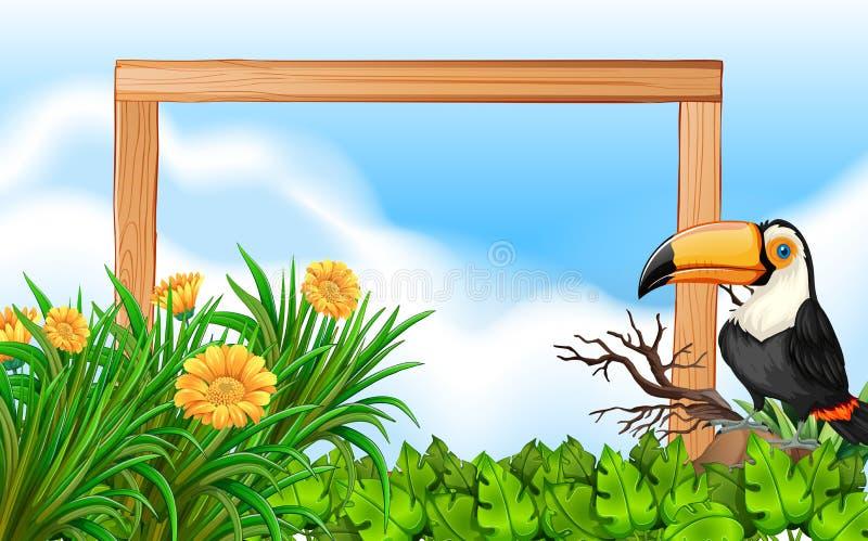 Fundo de madeira do quadro do tucano ilustração stock