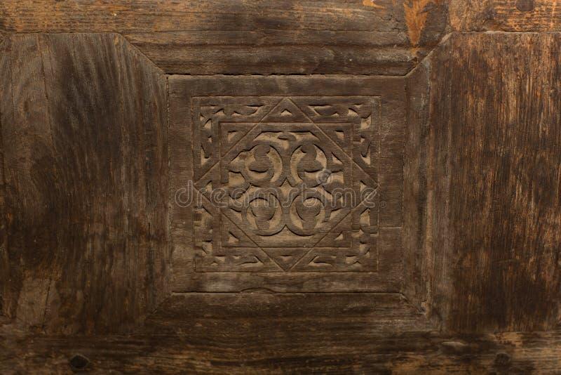 Fundo de madeira islâmico do projeto para a porta na mesquita egyptuan imagem de stock royalty free