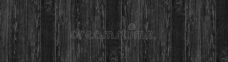 Fundo de madeira preto do vintage Textura panorâmico de madeira escura imagens de stock