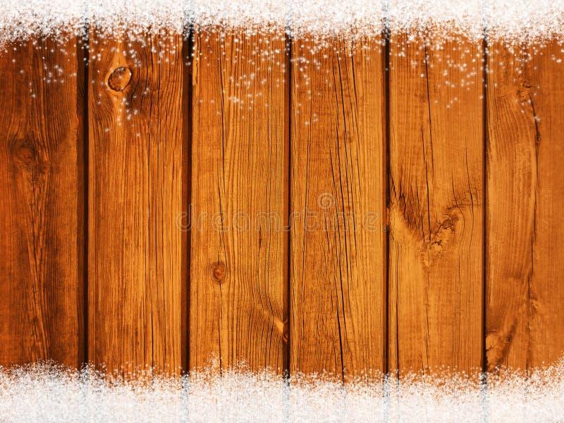 Fundo de madeira rústico velho do inverno do Natal com os flocos de queda da neve fotografia de stock