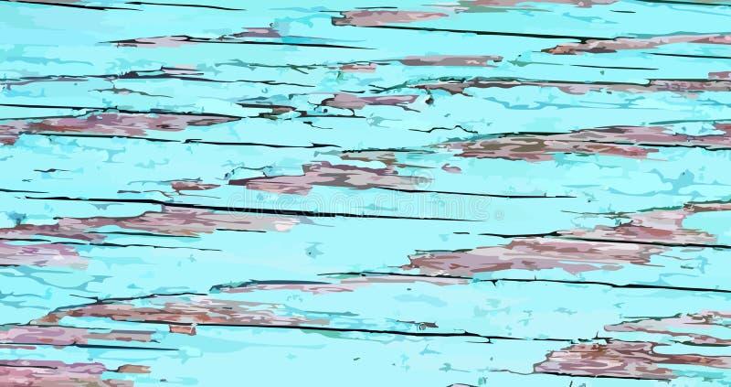 Fundo de madeira ?spero pintado Contexto velho com pintura esmeralda rachada Textura do Grunge da prancha de madeira ilustração do vetor
