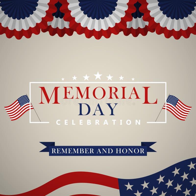 Fundo de Memorial Day com a bandeira nacional dos E.U., bandeira dos Estados Unidos Molde para o convite de Memorial Day, cartão ilustração stock