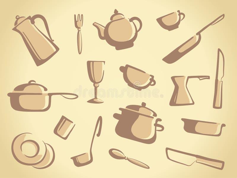 Fundo de mercadorias da cozinha ilustração do vetor