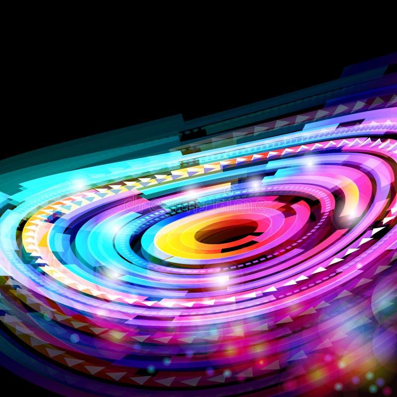 Fundo de néon abstrato da tecnologia. ilustração do vetor