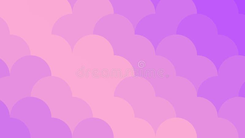 Fundo de néon abstrato da violeta e do pêssego Teste padrão geométrico brilhante mosaic Ilustração abstrata do vetor, horizontal ilustração stock