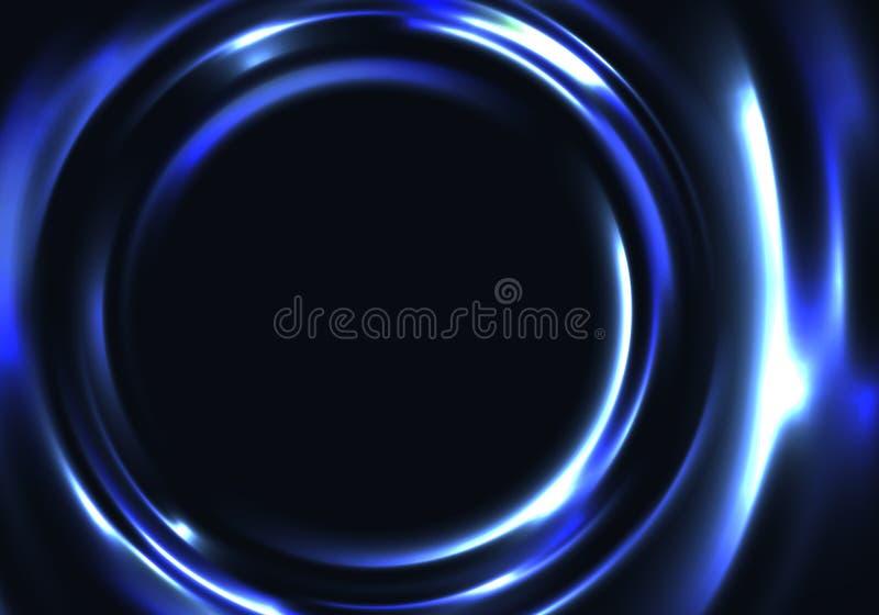 Fundo de néon abstrato escuro Ondinha de incandescência azul da água do vetor Frame colorido do círculo ilustração royalty free