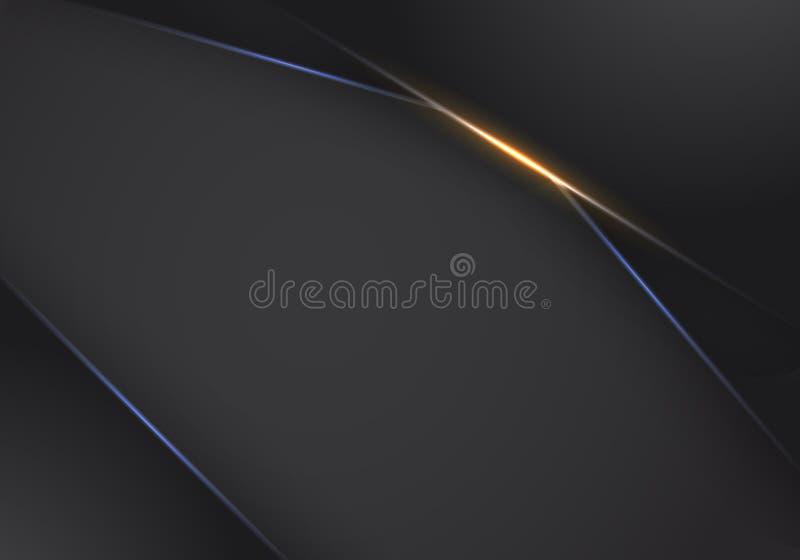 Fundo de néon claro moderno do fundo do molde do projeto da tecnologia da disposição preta alaranjada metálica abstrata do quadro ilustração stock