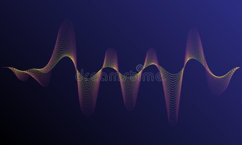 Fundo de néon da música Onda digital iluminada de partículas de incandescência Conceito da tecnologia do elemento de HUD ilustração do vetor