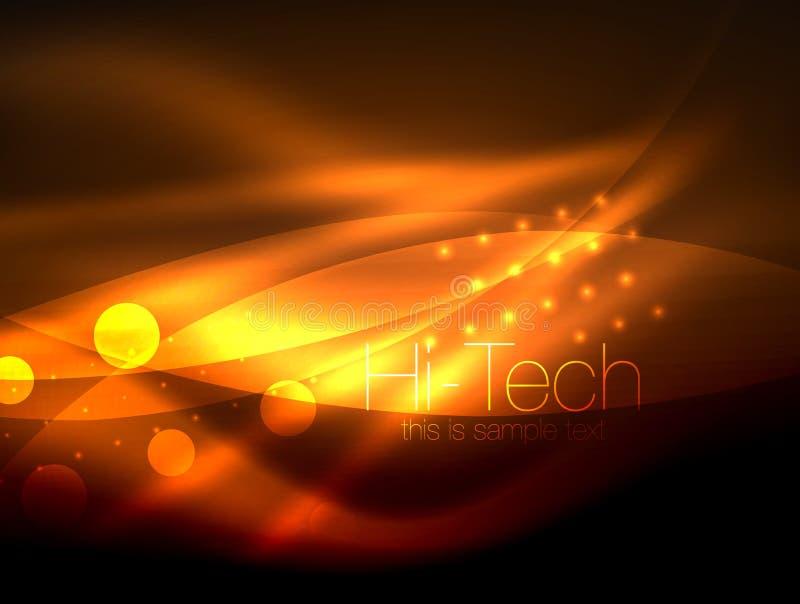 Fundo de néon da onda com efeitos da luz, linhas curvy com os pontos brilhando e brilhantes, cores de incandescência na escuridão ilustração royalty free