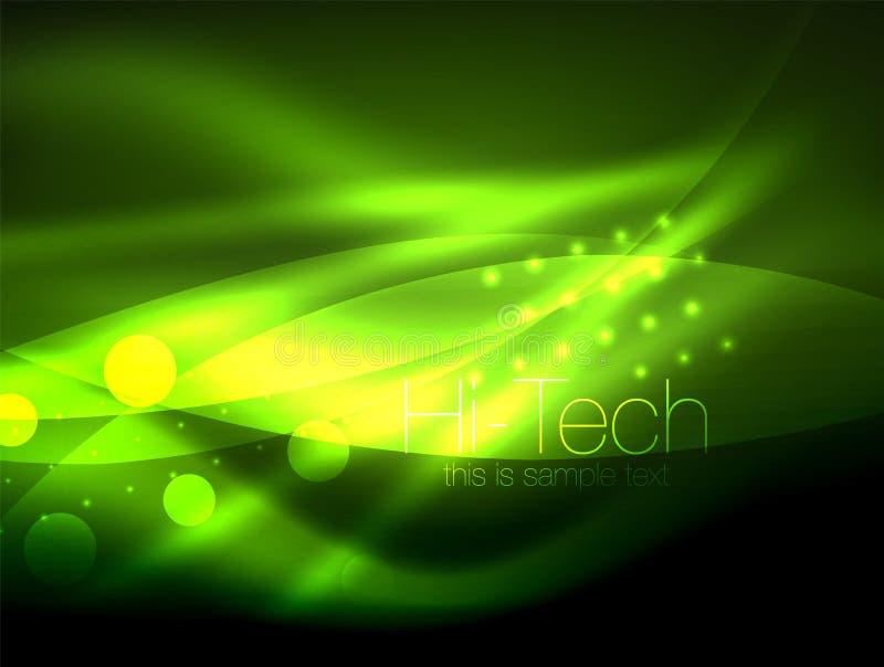 Fundo de néon da onda com efeitos da luz, linhas curvy com os pontos brilhando e brilhantes, cores de incandescência na escuridão ilustração do vetor