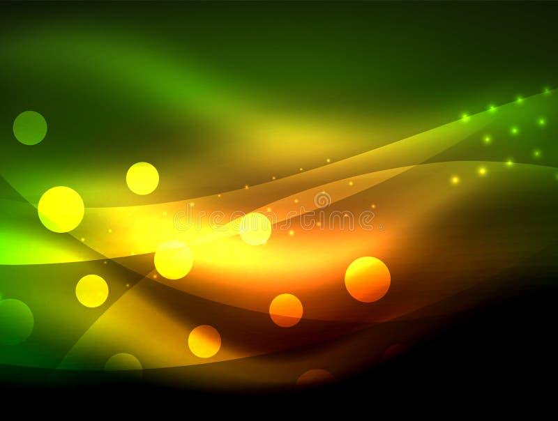 Fundo de néon da onda com efeitos da luz, linhas curvy com os pontos brilhando e brilhantes, cores de incandescência na escuridão ilustração stock
