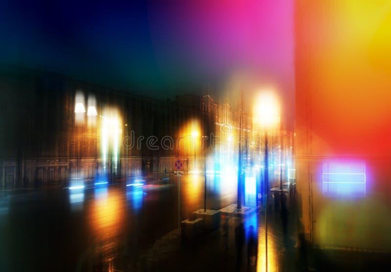 Fundo de néon da rua da cidade de Moscou da noite foto de stock
