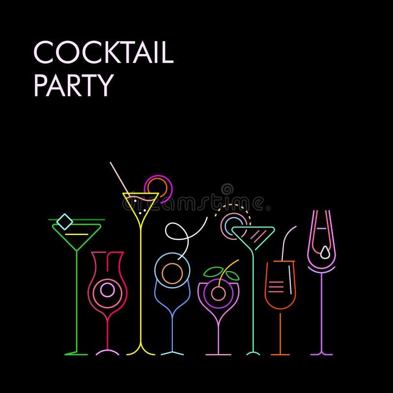 Fundo de néon do vetor das cores dos cocktail ilustração stock