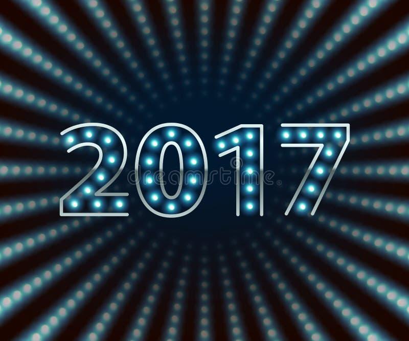 Fundo de néon retro da ampola de ano novo feliz 2017 ilustração stock