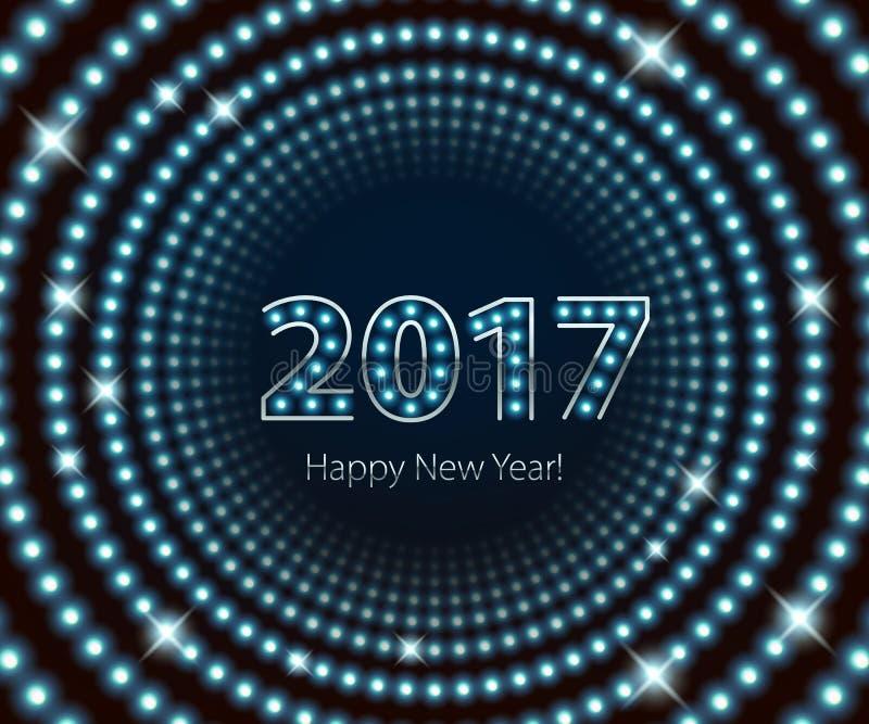 Fundo de néon retro da ampola de ano novo feliz 2017 ilustração do vetor