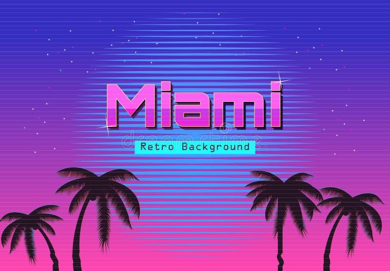 fundo de néon retro do inclinação 80s Palmas e sol Efeito do pulso aleatório da tevê Ficção científica Miami Beach ilustração royalty free