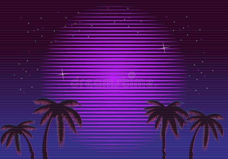 fundo de néon retro do inclinação 80s Palmas e sol Efeito do pulso aleatório da tevê Praia da ficção científica imagem de stock