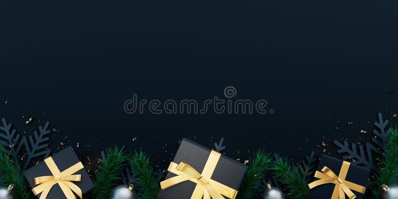 Fundo de Natal preto decorado com presentes e flocos de neve ilustração do vetor