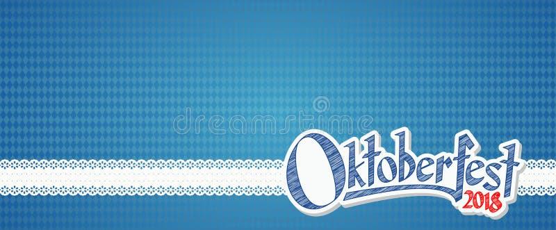 Fundo 2018 de Oktoberfest com teste padrão quadriculado azul-branco ilustração do vetor