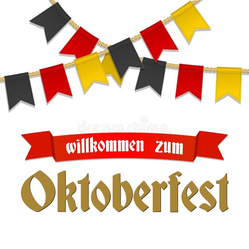 Fundo de Oktoberfest para o festival da cerveja e o funfair de viagem Fita vermelha com boa vinda do texto Decoração da estamenha ilustração stock
