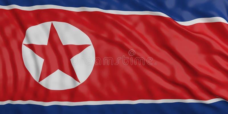 Fundo de ondulação da textura da bandeira da Coreia do Norte ilustração 3D ilustração do vetor