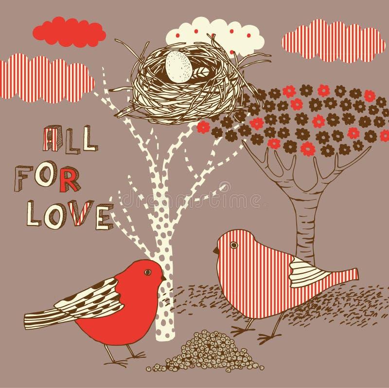 Fundo de Ove com pássaros ilustração stock