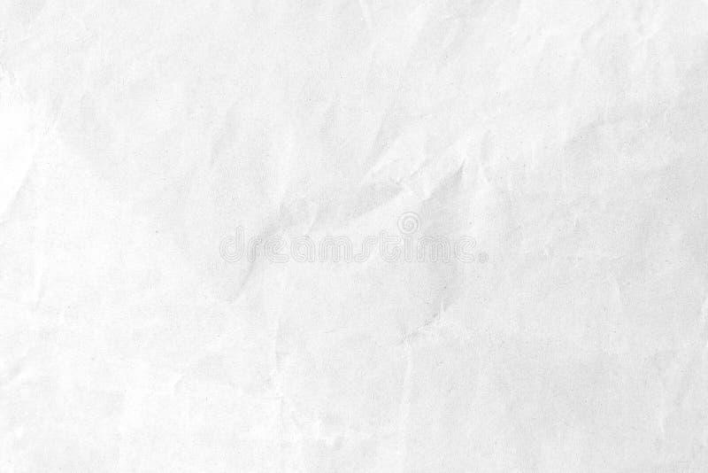 Fundo de papel amarrotado branco da textura Close-up imagem de stock