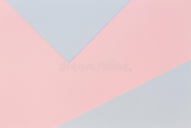Fundo de papel da textura da cor pastel Rosa macio geom?trico do sum?rio e fundo de papel azul foto de stock royalty free