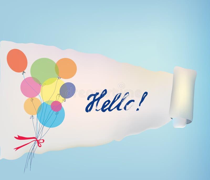 Fundo de papel do rolo com baloons e olá! ilustração stock