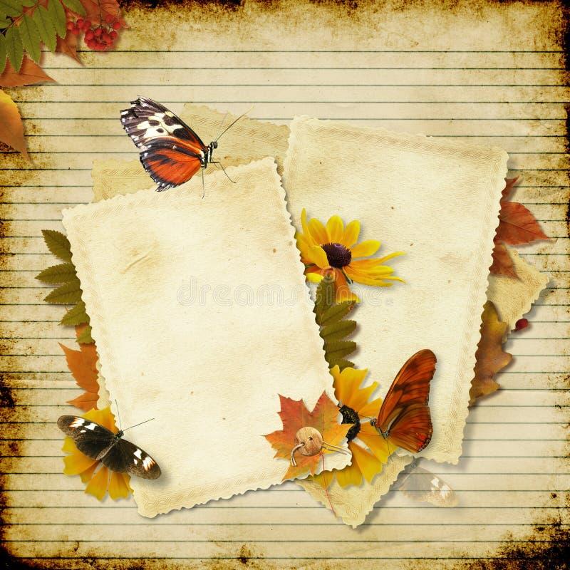 Fundo de papel do vintage com flores e espaço FO imagem de stock