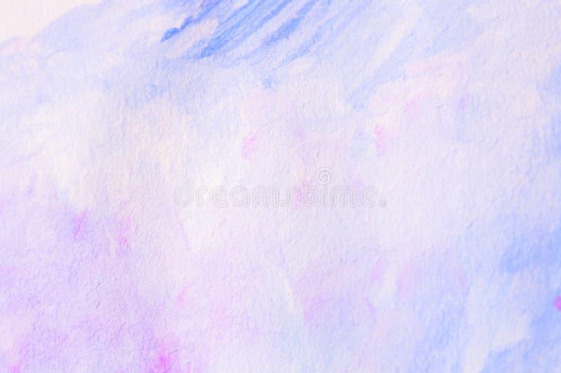 Fundo de papel do Watercolour para a arte finala em muitos cor, rosa, branco e azul foto de stock