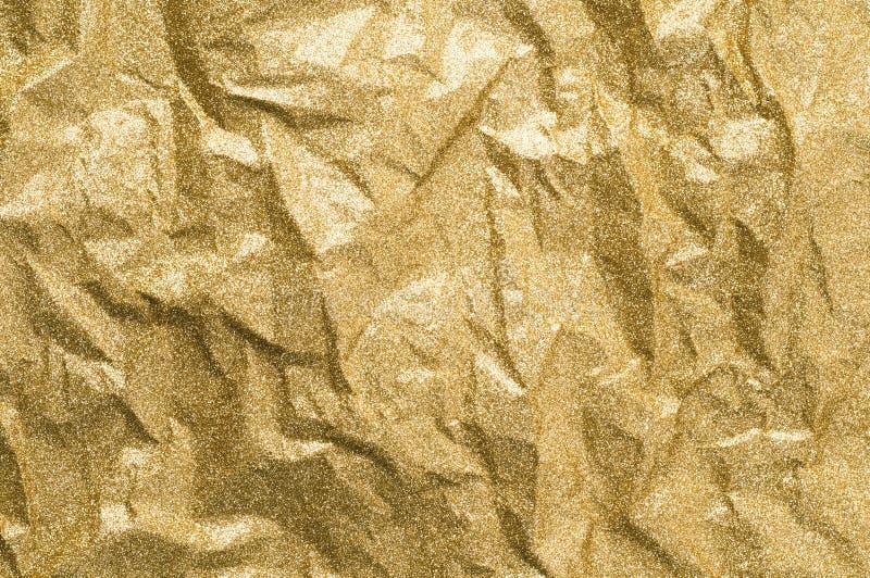 Fundo de papel enrugado ouro do sumário da textura imagens de stock royalty free