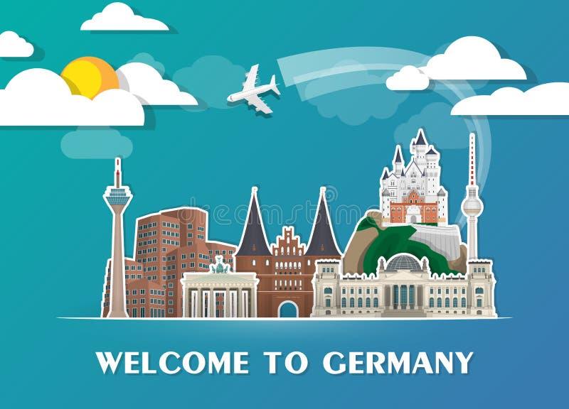Fundo de papel global do curso e da viagem do marco de Alemanha Vec ilustração do vetor