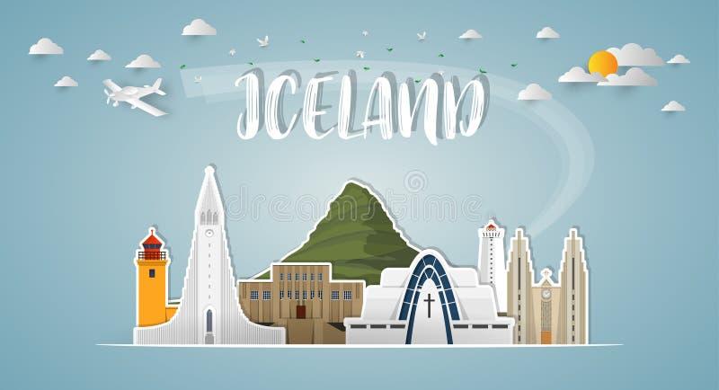 Fundo de papel global do curso e da viagem do marco de Islândia Vec ilustração do vetor