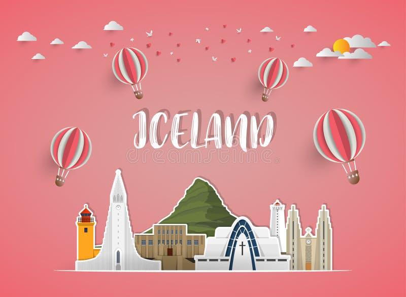 Fundo de papel global do curso e da viagem do marco de Islândia Vec ilustração stock