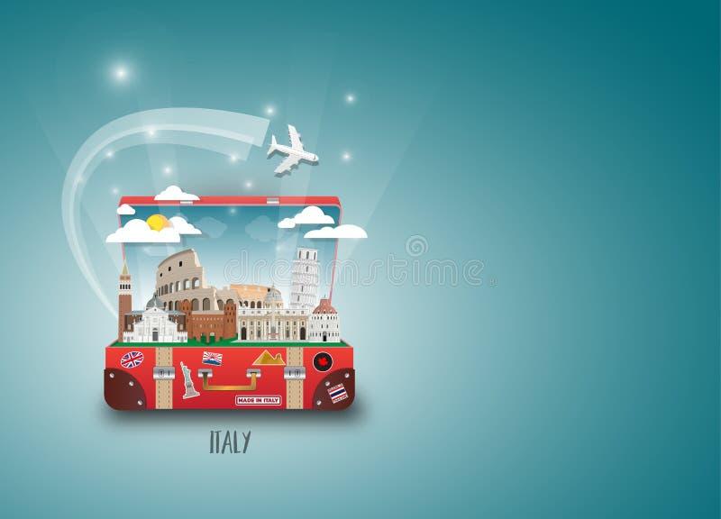 Fundo de papel global do curso e da viagem do marco de Itália Vecto ilustração royalty free