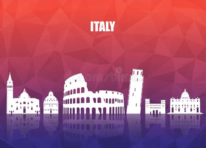 Fundo de papel global do curso e da viagem do marco de Itália Vecto ilustração do vetor