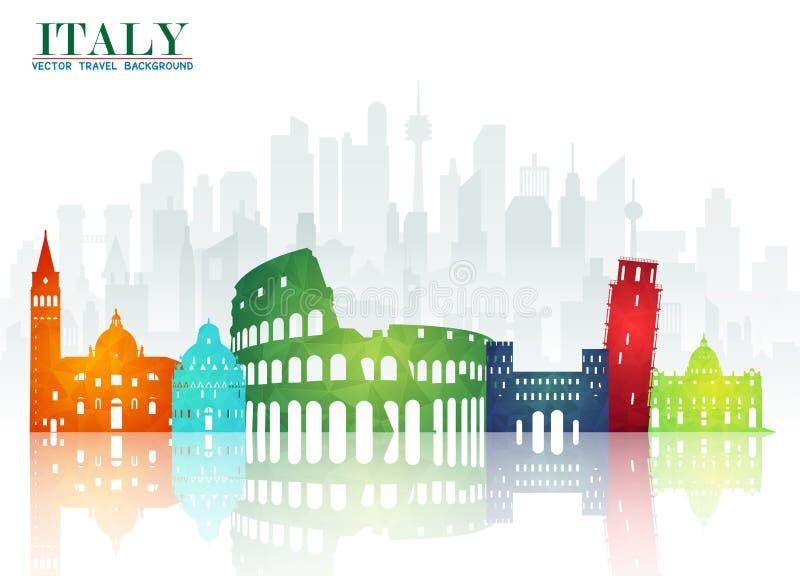 Fundo de papel global do curso e da viagem do marco de Itália Vecto ilustração stock