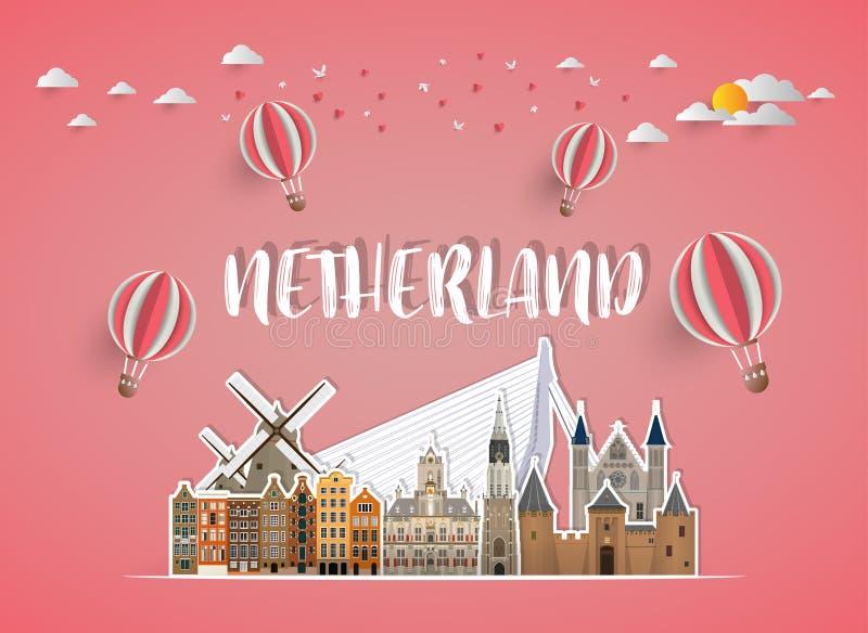 Fundo de papel global do curso e da viagem do marco de Netherland ilustração do vetor