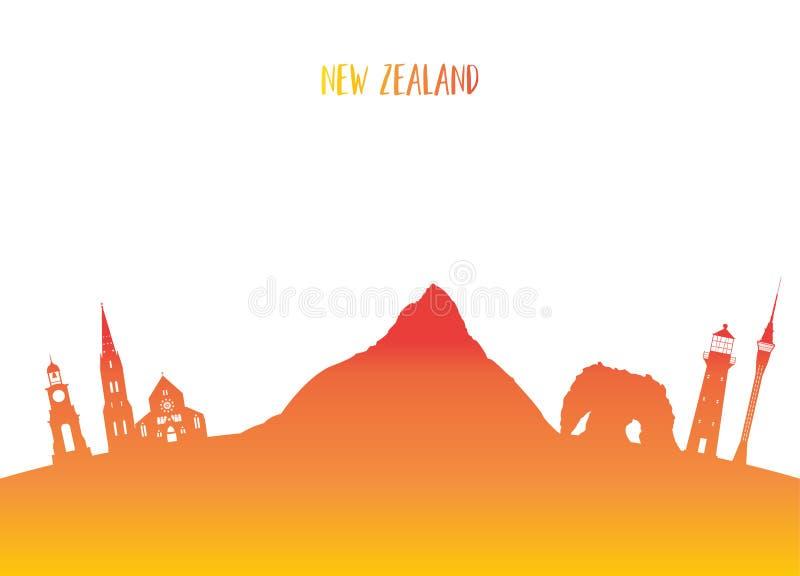 Fundo de papel global do curso e da viagem do marco novo de Zeland ilustração stock