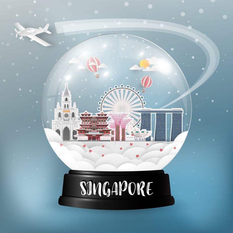Fundo de papel global do curso e da viagem do marco de Singapura V ilustração stock