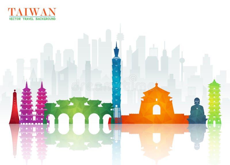 Fundo de papel global do curso e da viagem do marco de Taiwan Vect ilustração stock