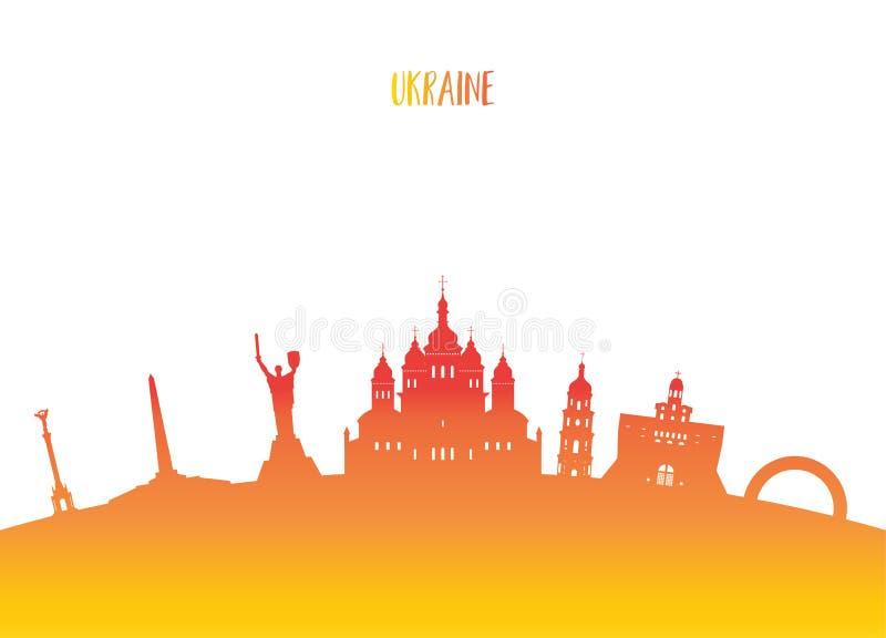 Fundo de papel global do curso e da viagem do marco de Ucrânia Vec ilustração do vetor
