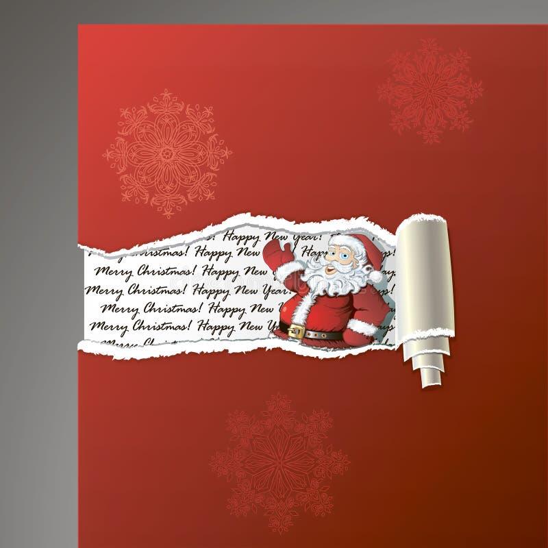 Fundo de papel rasgado com Santa ilustração royalty free